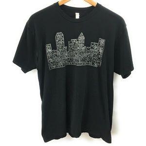 American Apparel  Mens Black Graphic T-Shirt, XL